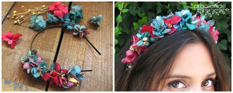 Taller de diademas de flores preservadas con arbolande - Diademas de flores para nina ...
